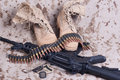 Us marines background with service tapes dog tags and camouflaged uniform Royalty Free Stock Photos