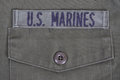 Us marines background with uniform and service tape Stock Photo