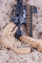 Us marines concept with firearms boots and camouflaged uniform Stock Images