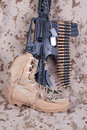 Us marines concept with firearms boots and camouflaged uniform Royalty Free Stock Image