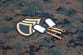 Us marines concept with service tapes dog tags and camouflaged uniform marpat Royalty Free Stock Image
