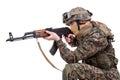 Us marines with kalashnikov assault rifle isolated on white Royalty Free Stock Images