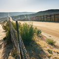US/Mexico Border Fence Royalty Free Stock Photography