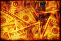US money burning Royalty Free Stock Photo