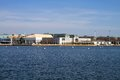 Us naval academy skyline of the campus of the united states located in annapolis maryland as seen from across the severn river Stock Image