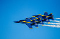 Us navy blue angels airshow the s angle display team performing at wings over houston Royalty Free Stock Image