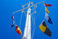 Us navy memorial mast and signal flags tower above the united states in washington dc Stock Photos