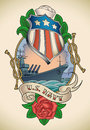 Us navy tattoo old school of a star striped shield battleship banner and rose editable vector illustration Royalty Free Stock Photo