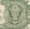 stock image of  US one Dollar bill, close up, seal USA
