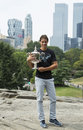 Us open champion rafael nadal posing with us open trophy in central park new york city september on september Royalty Free Stock Photography