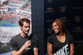 Us open champions serena williams and andy murray at the us open draw ceremony flushing ny august in flushing on august Stock Photos