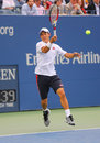 Us open finalist kei nishikori during final match against marin cilic at billie jean king national tennis center new york Stock Image