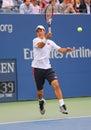 Us open finalist kei nishikori during final match against marin cilic at billie jean king national tennis center new york Stock Image