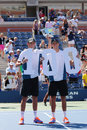 Us open men doubles champions bob and mike bryan during trophy presentation at billie jean king national tennis center new york Royalty Free Stock Images