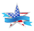 Us patriotic star and ribbon illustration design over white Royalty Free Stock Image