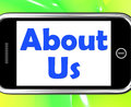 About Us On Phone Shows Information or Reports Royalty Free Stock Photo