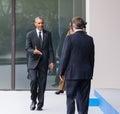 Us president barack obama at the nato summit in newport wales uk sep british prime minister david cameron and secretary general Stock Photos