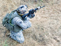US soldier in action Stock Image