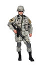 Us soldier with his assault rifle on white background Royalty Free Stock Image