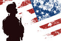 Us soldier silhouette of with the american flag on the background Royalty Free Stock Image