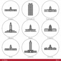Us states symbolized by the state capitols part american capitol building silhouettes set has six parts and contains fifty capitol Stock Image