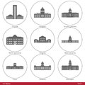 Us states symbolized by the state capitols part american capitol building silhouettes set has six parts and contains fifty capitol Stock Photos