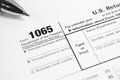 US tax form 1065 on table Royalty Free Stock Photo