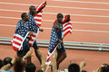 US TEAM victory lap for 400 meter hurdles. Stock Image
