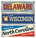 US. Vintage Tin Sign Collection With America State. Retro Souvenirs. Delaware. Wisconsin. North Carolina.