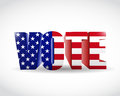 Us vote flag sign illustration design over white Royalty Free Stock Photo