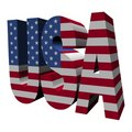 USA 3d text with American flag Royalty Free Stock Photo