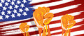 USA America independence hand fist in with flag concept illustration of nationalism patriotism