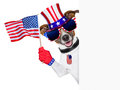 Usa american dog pride waving us flag behind banner Stock Image