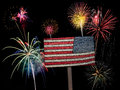 USA american flag and fireworks for 4th of July Royalty Free Stock Photo