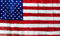 Usa american flag painted on old wood plank background Stock Photos