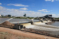 Usa arizona tempe dam after torrential rains this dams up rio salado salt river in usually the river bed is completely dry but on Royalty Free Stock Images