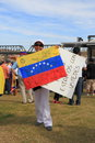 USA, AZ: Rally For Venezuela>Signatures On Flag Royalty Free Stock Images