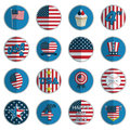Usa badges collection of round fourth of july isolated on white with transparencies Royalty Free Stock Photos