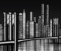 Usa brooklyn bridge in new york vector illustration of Stock Photo