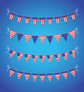 Usa bunting set a background Royalty Free Stock Photo