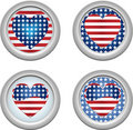 USA Buttons Heart Royalty Free Stock Photography