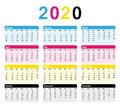 2020 USA Calendar. 12 Months. Colorful CMYK Print vector design.
