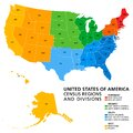United States, Census regions and divisions, political map Royalty Free Stock Photo