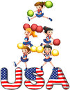 The usa cheering squad illustration of on a white background Royalty Free Stock Photo