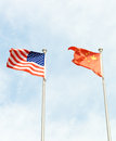 Usa and china flag america flags next to each other Royalty Free Stock Image