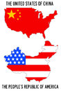Usa and china with the names flags inversed Royalty Free Stock Photos