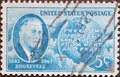 USA - Circa 1945: a postage stamp printed in the US showing a portrait by Franklin Roosevelt Stamps. Background: freedom of speech Royalty Free Stock Photo