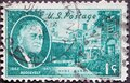 USA - Circa 1945: a postage stamp printed in the US showing a portrait by Franklin Roosevelt Stamps. Background: Hyde Park, NY Royalty Free Stock Photo