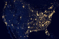 USA city lights visible geography Royalty Free Stock Photo