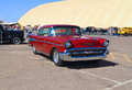 Usa classic car chevrolet bel air this tri five with its large tail fins the twin rocket hood and a zz r machine was on exhibition Royalty Free Stock Image
